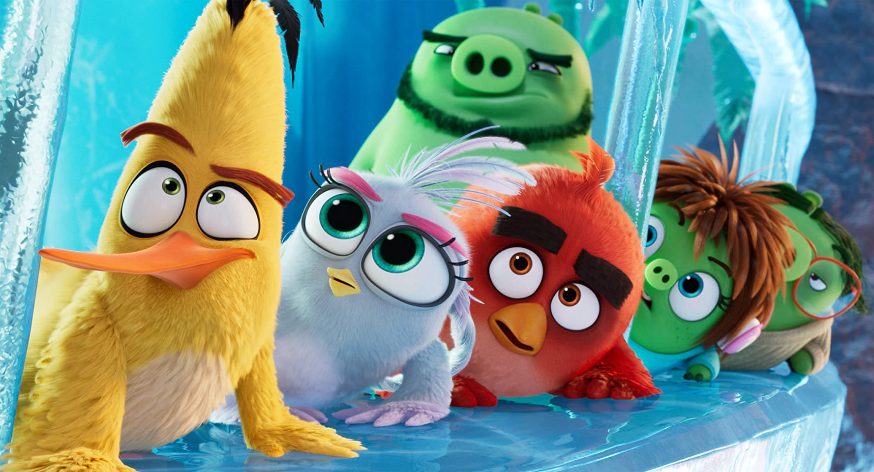 Bill Hader, Jason Sudeikis, Sterling K. Brown, Josh Gad, Rachel Bloom, and Awkwafina in The Angry Birds Movie 2 (2019)