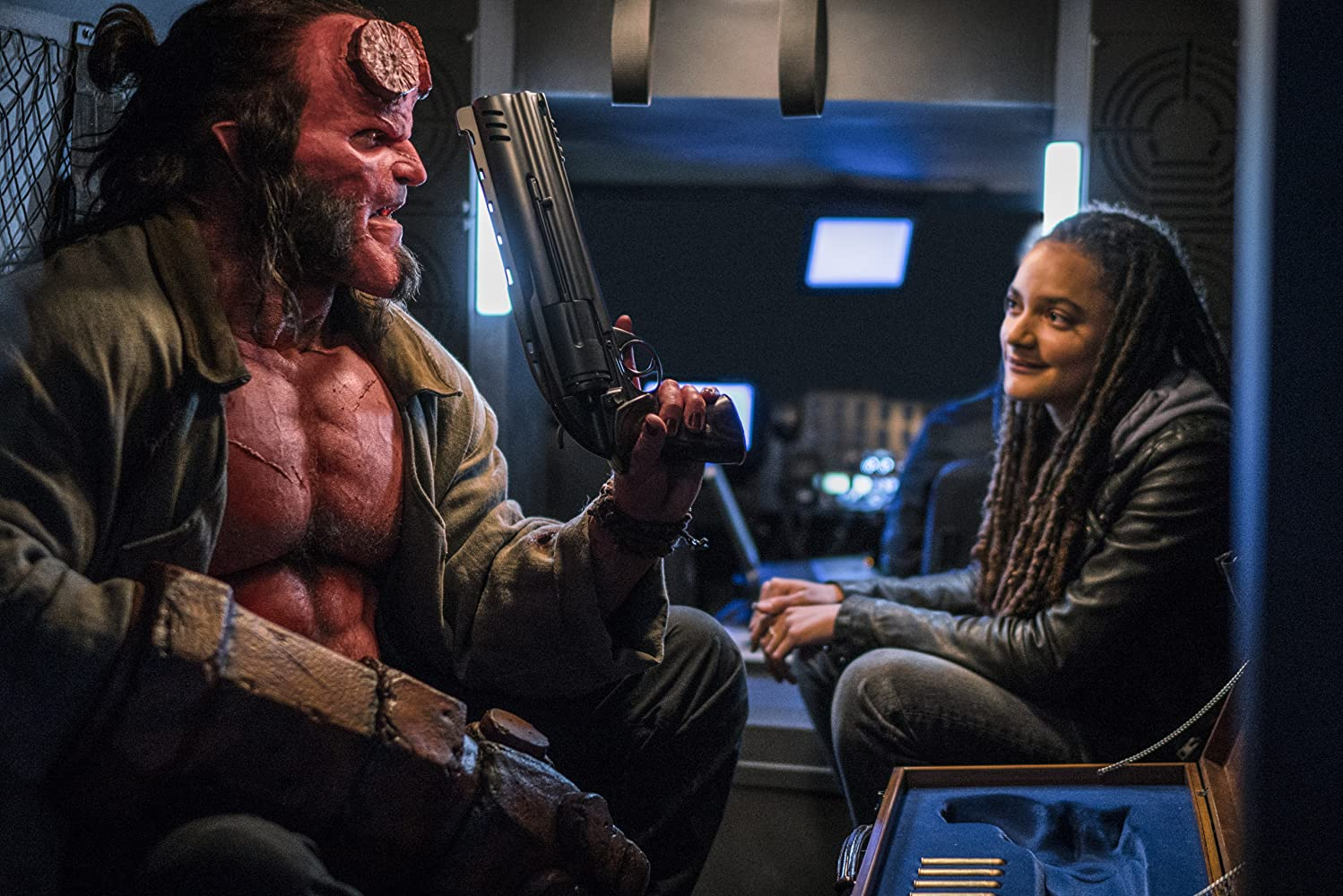 David Harbour and Sasha Lane in Hellboy (2019)