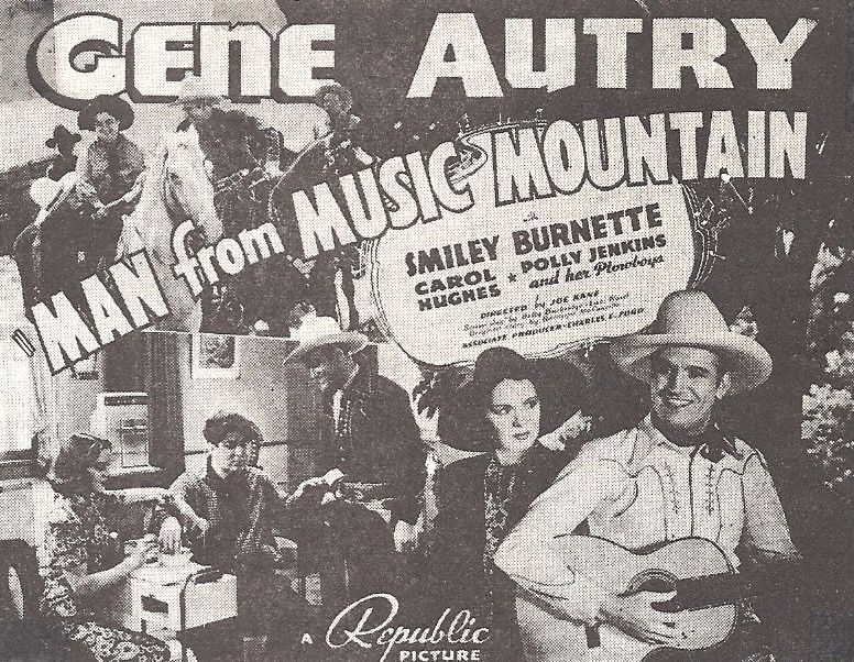 Gene Autry, Smiley Burnette, Carol Hughes, Sally Payne, Champion, and Al Terry in Man from Music Mountain (1938)