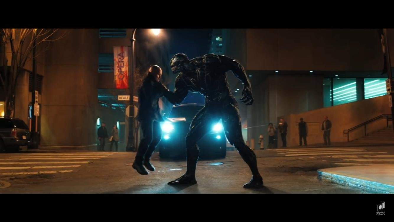 Tom Hardy and Scott Haze in Venom (2018)