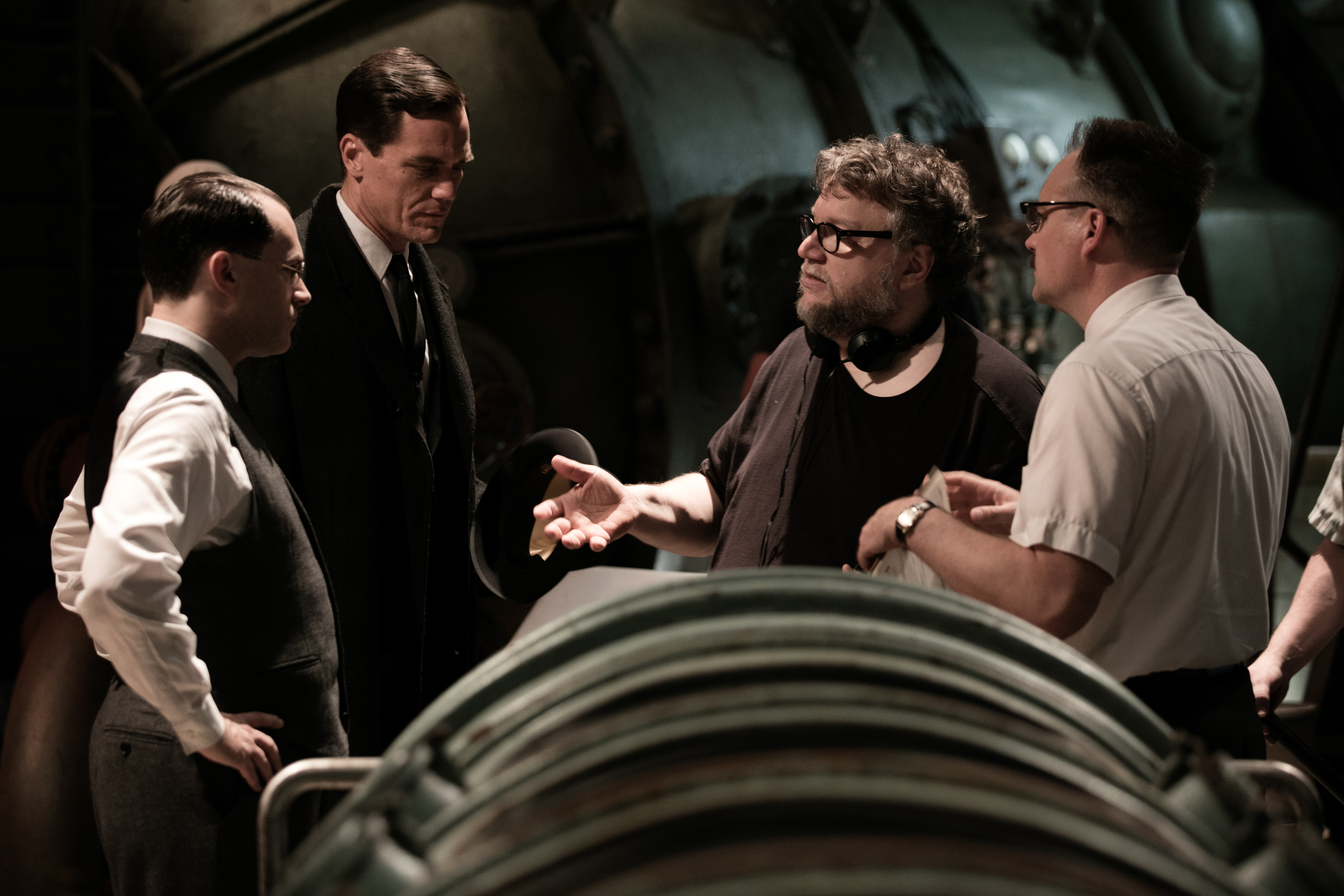 David Hewlett, Michael Shannon, Michael Stuhlbarg, and Guillermo del Toro in The Shape of Water (2017)