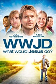 Maxine Bahns, John Schneider, Kirk Bovill, Joni Bovill, and Adam Gregory in What Would Jesus Do? (2010)