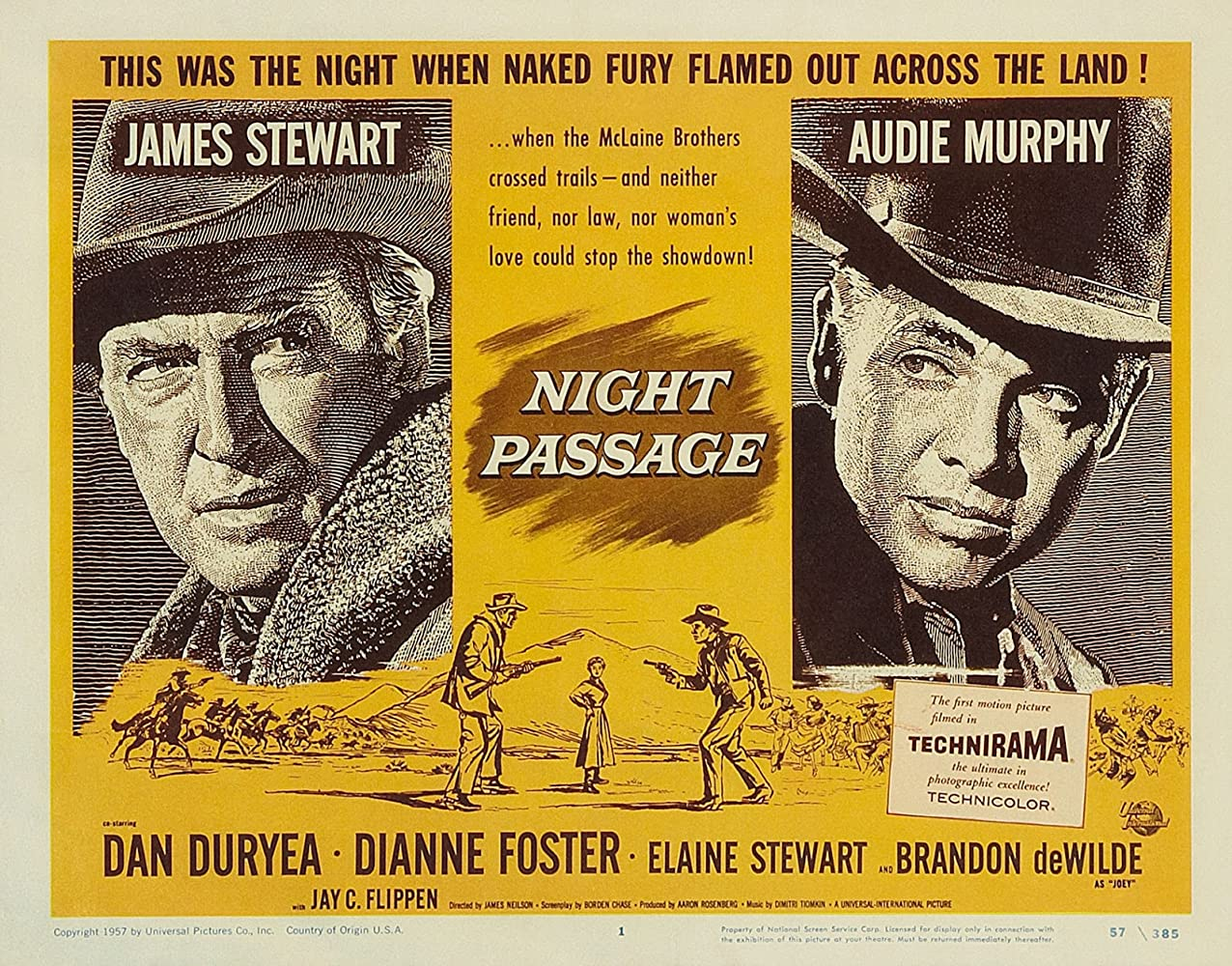James Stewart and Audie Murphy in Night Passage (1957)