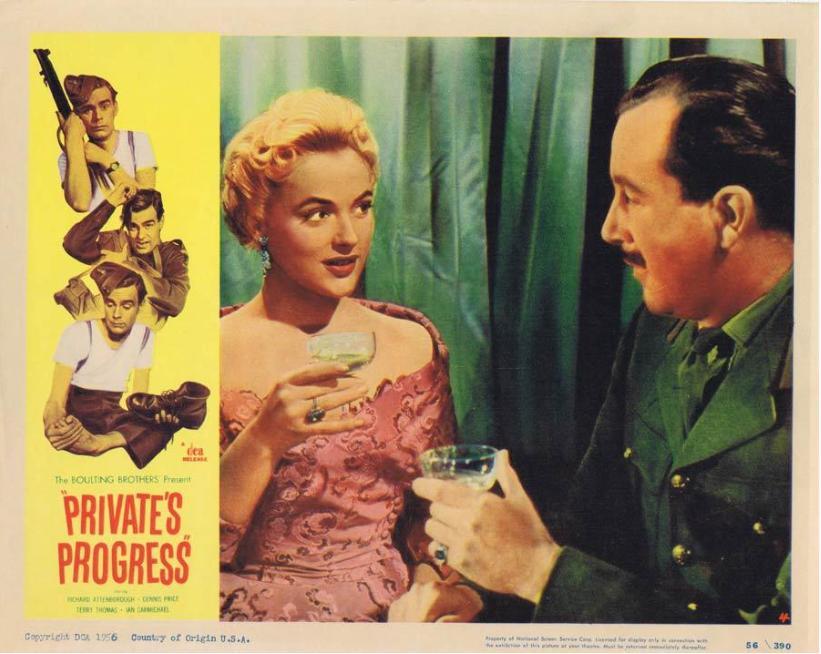 Jill Adams and Dennis Price in Private's Progress (1956)
