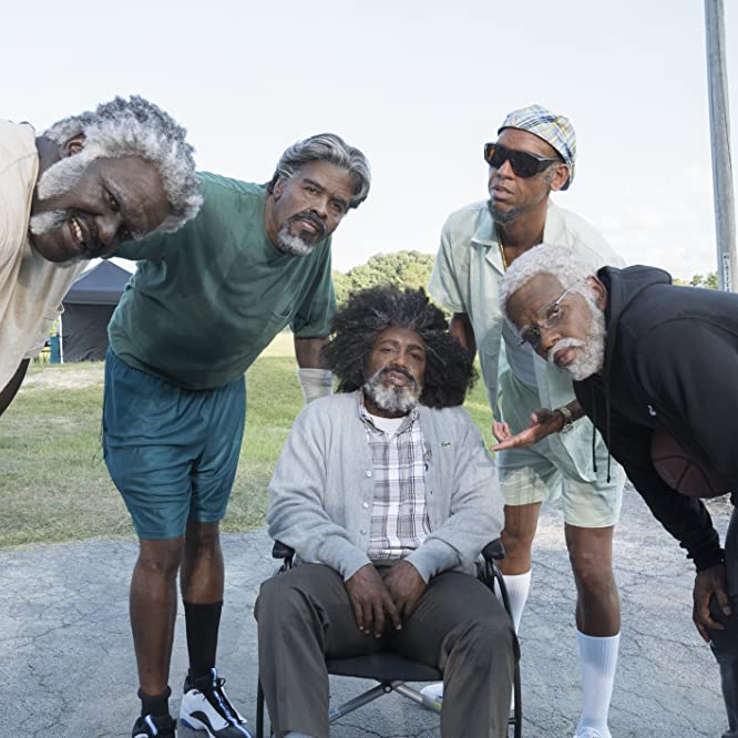 Reggie Miller, Shaquille O'Neal, Chris Webber, Nate Robinson, and Kyrie Irving in Uncle Drew (2018)