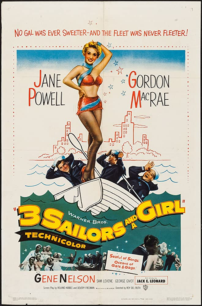 Jane Powell, Jack E. Leonard, Gordon MacRae, and Gene Nelson in Three Sailors and a Girl (1953)