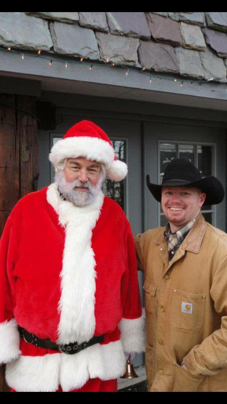 """On set of """"A Dog for Christmas"""" Joshua Ray Bell with Richard Karn, who played the role of Santa in the film"""