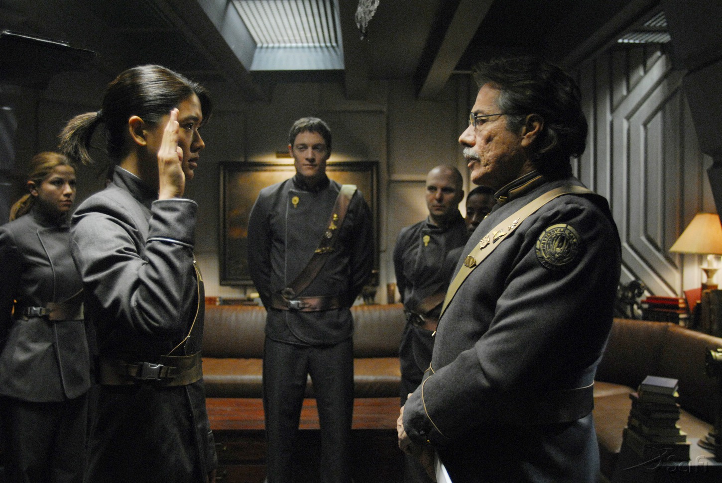 Edward James Olmos, Grace Park, and Tahmoh Penikett in Battlestar Galactica (2004)