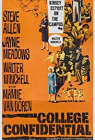 Herbert Marshall, Jayne Meadows, Steve Allen, Cathy Crosby, Pamela Mason, Mickey Shaughnessy, Conway Twitty, and Walter Winchell in College Confidential (1960)