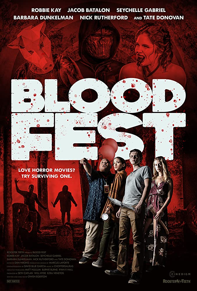 Tate Donovan, Zachary Levi, Robbie Kay, Seychelle Gabriel, and Barbara Dunkelman in Blood Fest (2018)