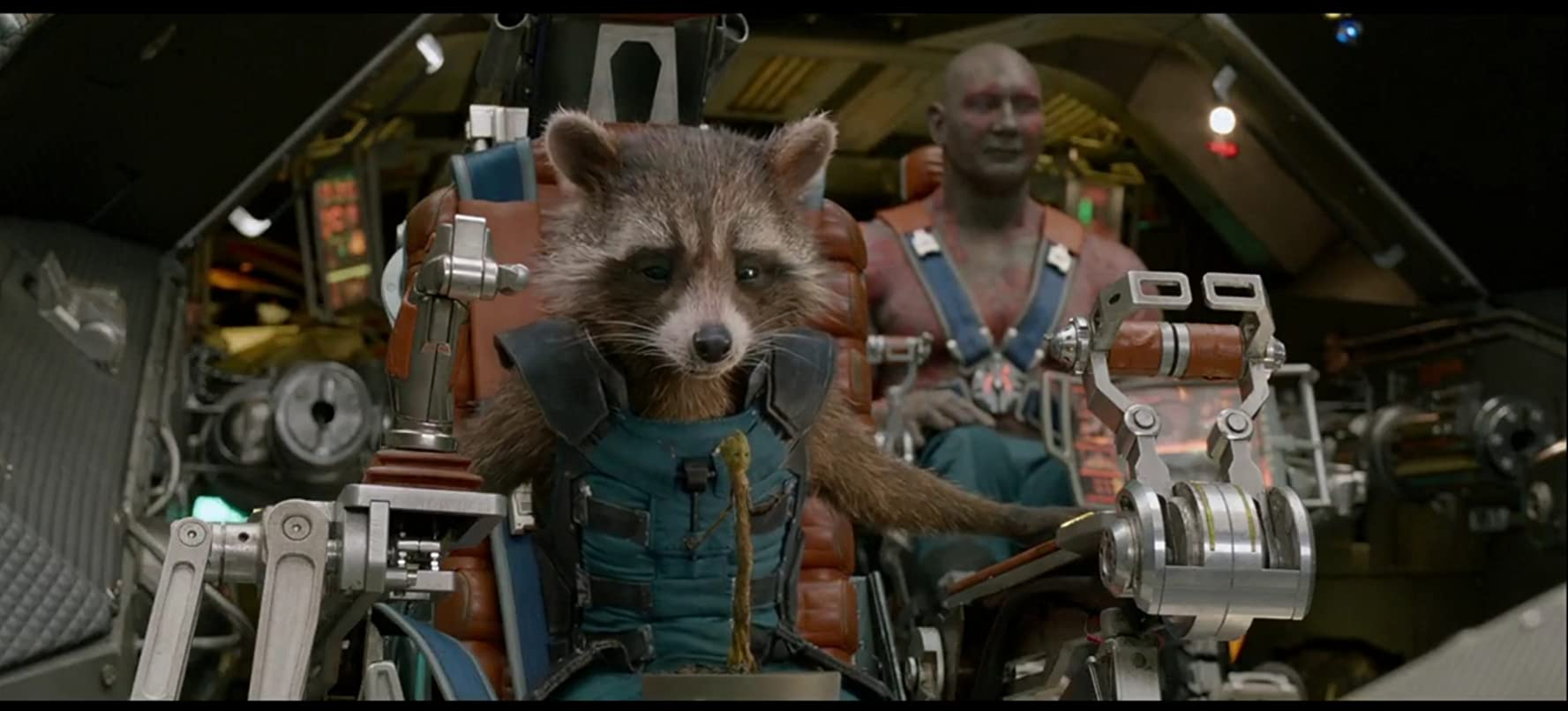 Vin Diesel Bradley Cooper and Dave Bautista in Guardians of the Galaxy 2014