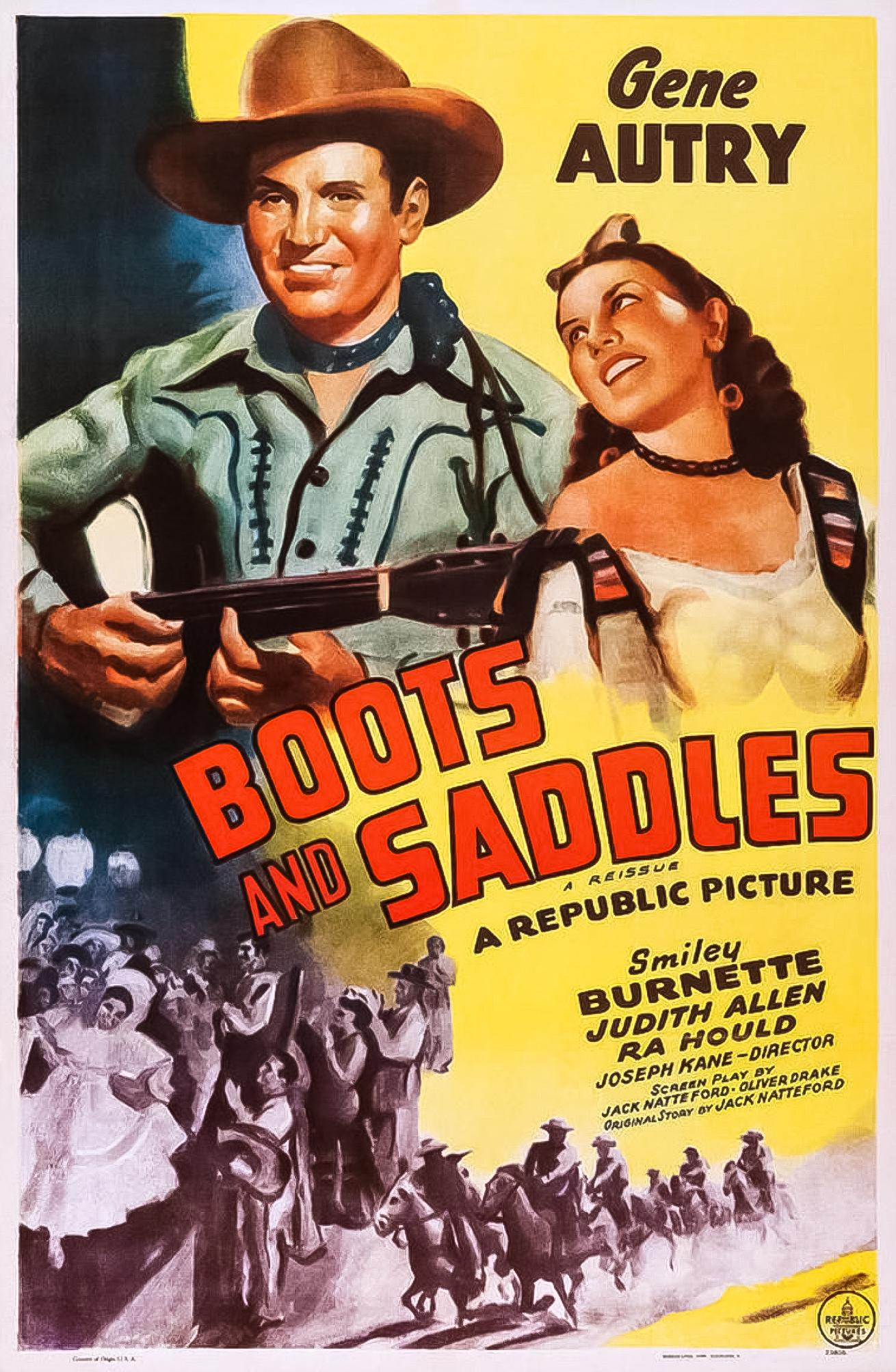 Gene Autry, Judith Allen, Smiley Burnette, and Ronald Sinclair in Boots and Saddles (1937)