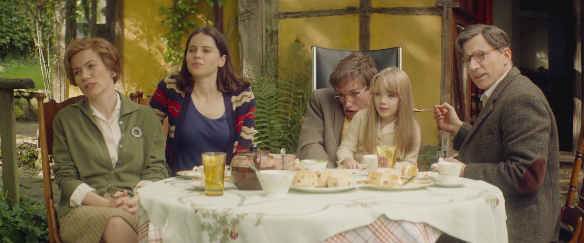 Abigail Cruttenden, Felicity Jones, Simon McBurney, Eddie Redmayne, and Raffiella Chapman in The Theory of Everything (2014)