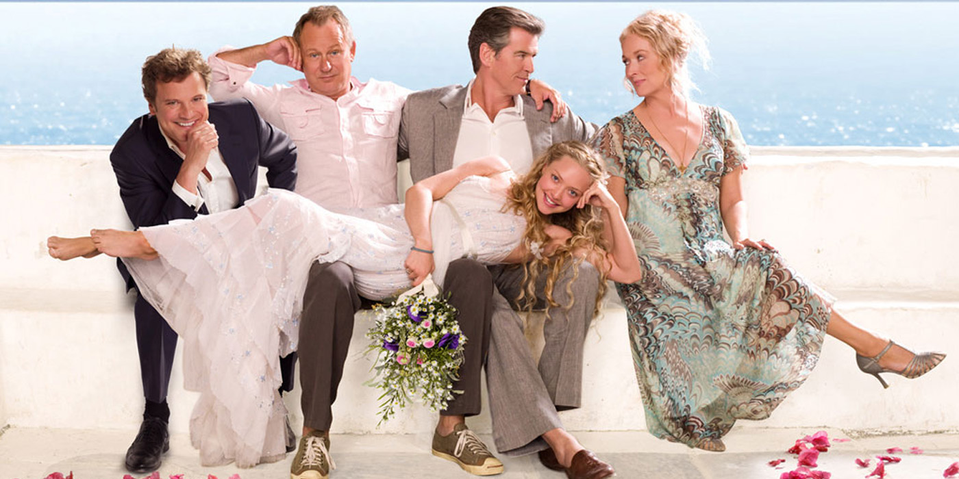 Pierce Brosnan, Colin Firth, Meryl Streep, Stellan Skarsgård, and Amanda Seyfried in Mamma Mia! (2008)