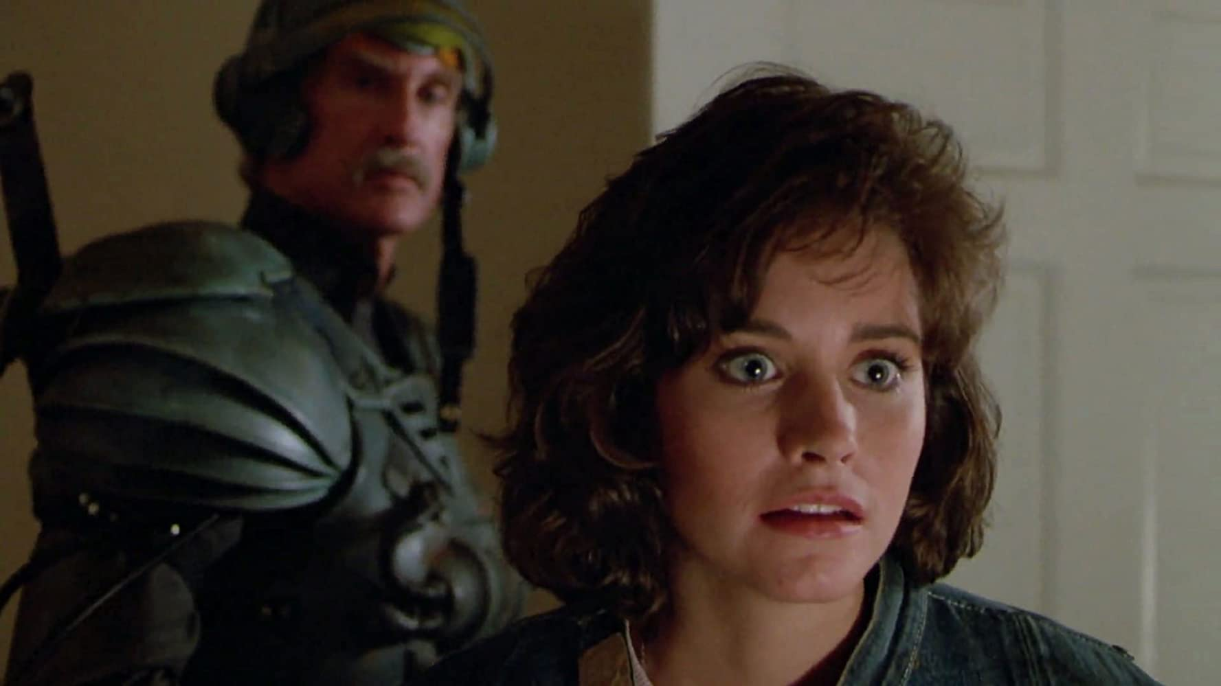 Courteney Cox and Jon Cypher in Masters of the Universe (1987)