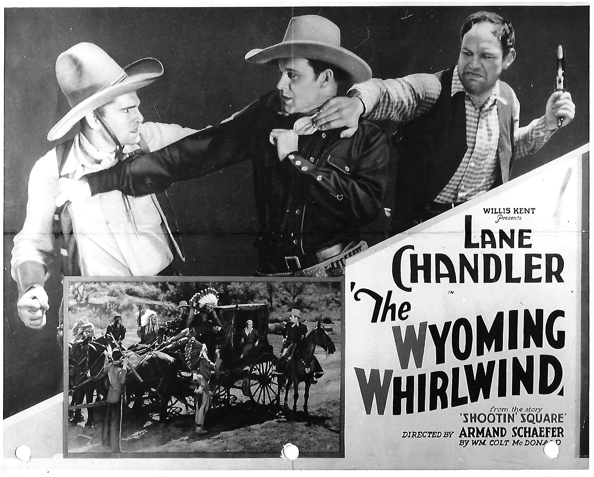 Yakima Canutt, Lane Chandler, Adele Lacy, and Bob Roper in The Wyoming Whirlwind (1932)