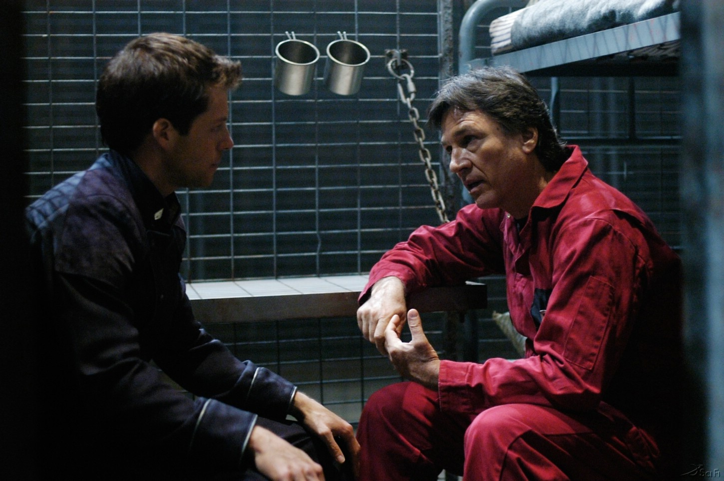 Jamie Bamber and Richard Hatch in Battlestar Galactica (2004)