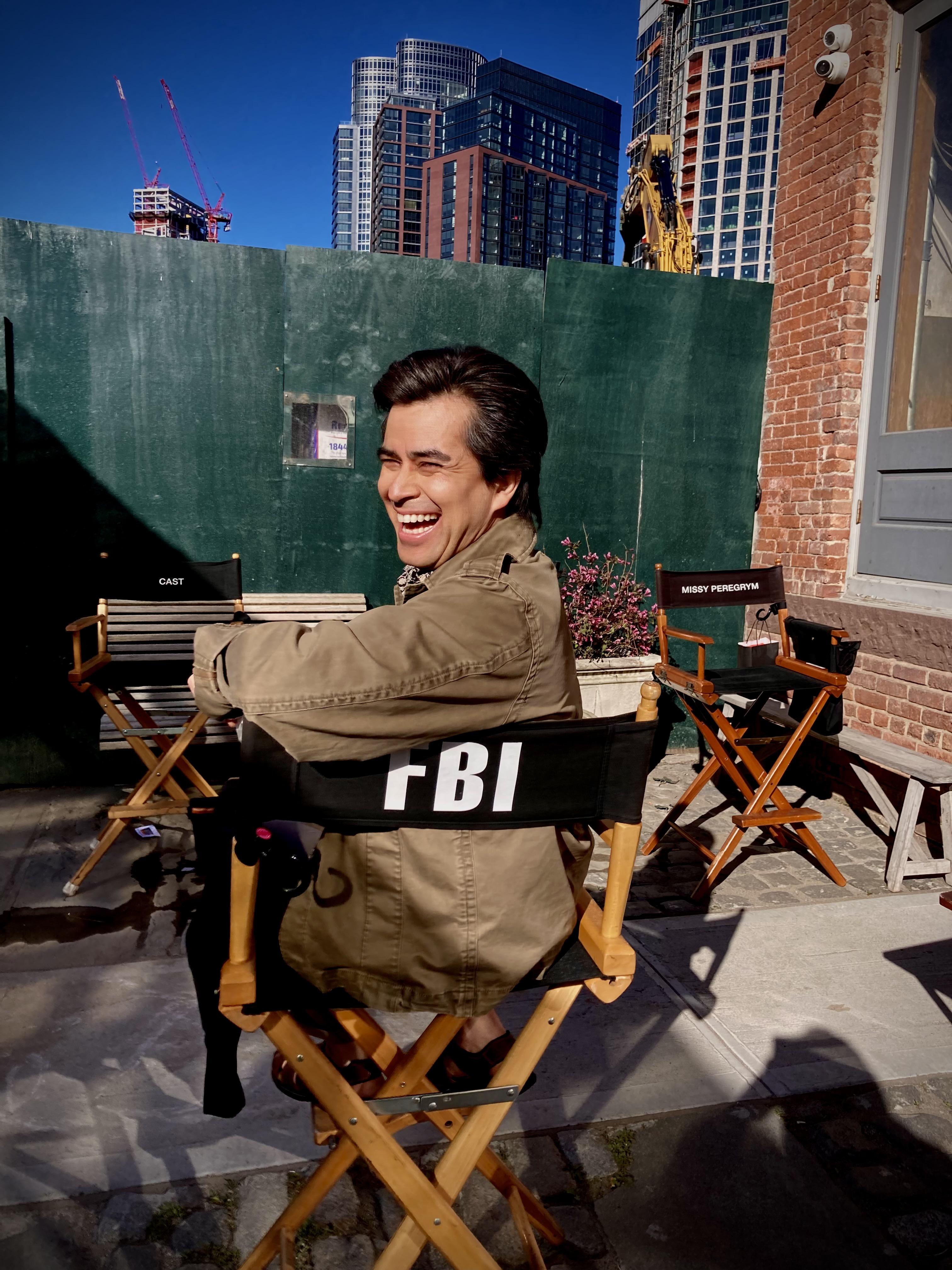 Alberto Bonilla on the set of FBI