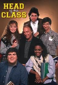 Robin Givens, Brian Robbins, Dan Frischman, Khrystyne Haje, Howard Hesseman, and Dan Schneider in Head of the Class (1986)
