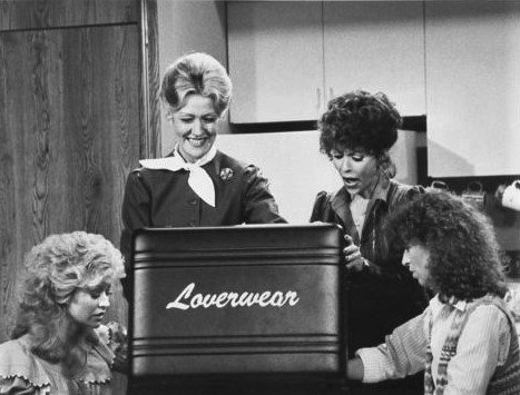 Rita Moreno, Valerie Curtin, Rachel Dennison, and Marian Mercer in 9 to 5 (1982)