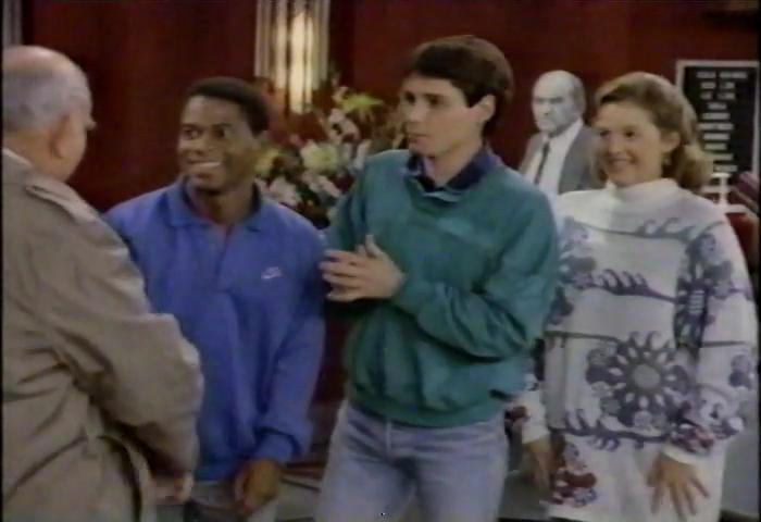Penelope Ann Miller, Edward Asner, Jeff Joseph, and Bruce Norris in The Popcorn Kid (1987)