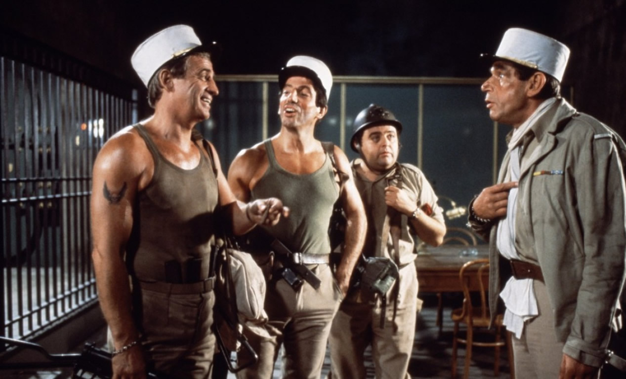 Jean-Paul Belmondo, Michel Constantin, Michel Creton, and Jacques Villeret in Les morfalous (1984)