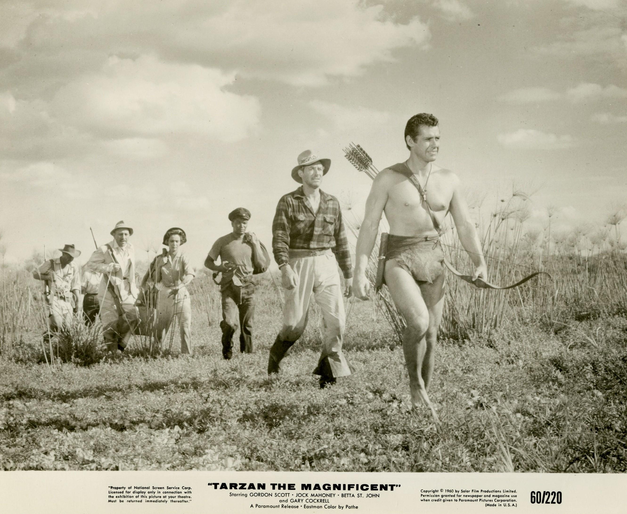Lionel Jeffries, Jock Mahoney, Gordon Scott, Betta St. John, and Alexandra Stewart in Tarzan the Magnificent (1960)