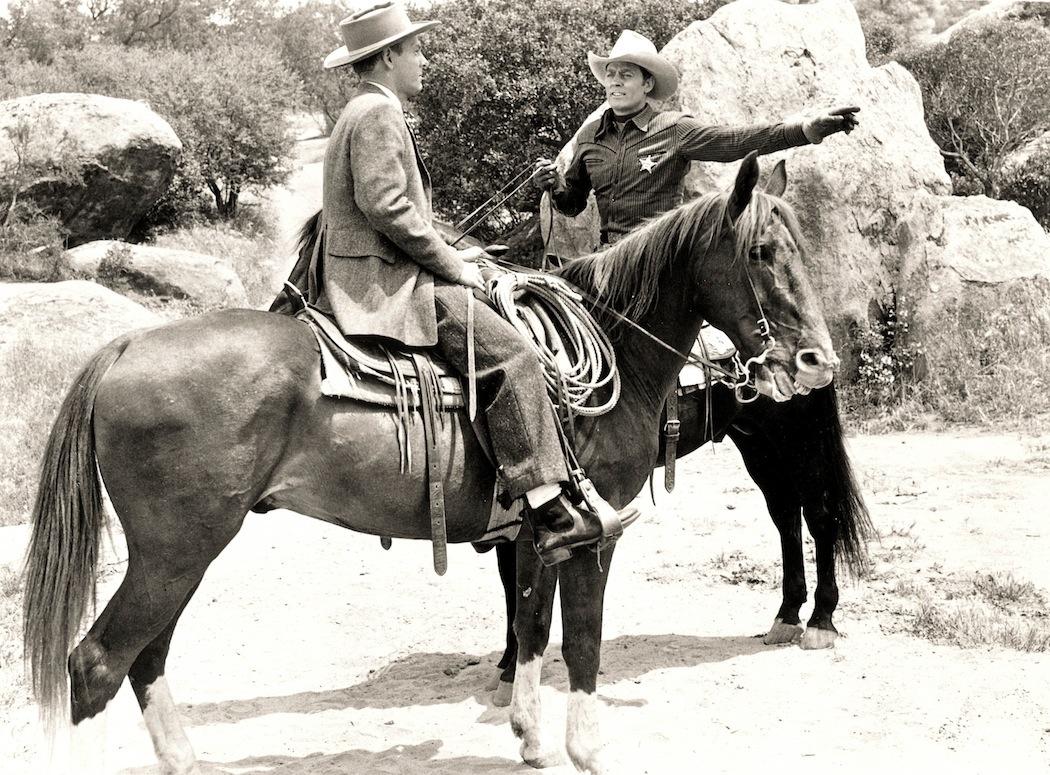Ross Ford, Allan Lane, and Black Jack in Frisco Tornado (1950)