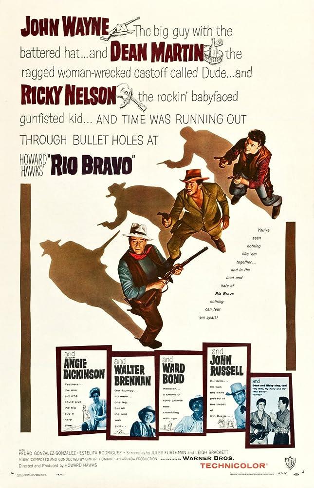 John Wayne, Ward Bond, Walter Brennan, Angie Dickinson, Dean Martin, Ricky Nelson, and John Russell in Rio Bravo (1959)