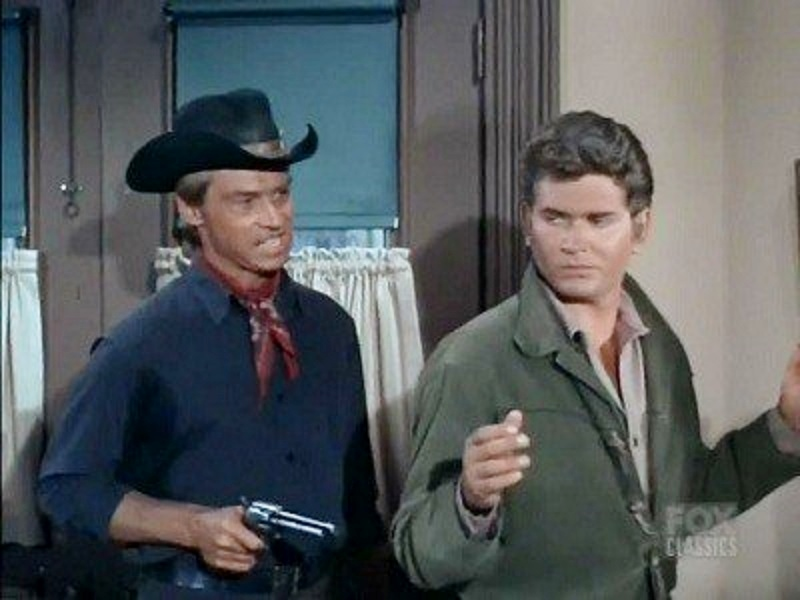 Michael Landon and Bill Fletcher in Bonanza (1959)
