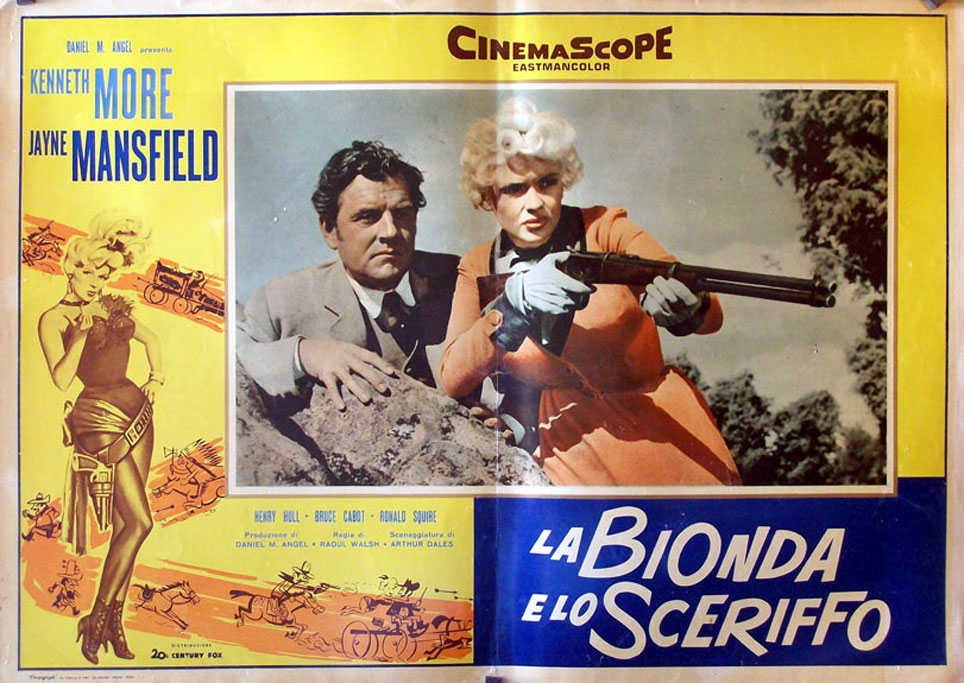 Jayne Mansfield and Kenneth More in The Sheriff of Fractured Jaw (1958)