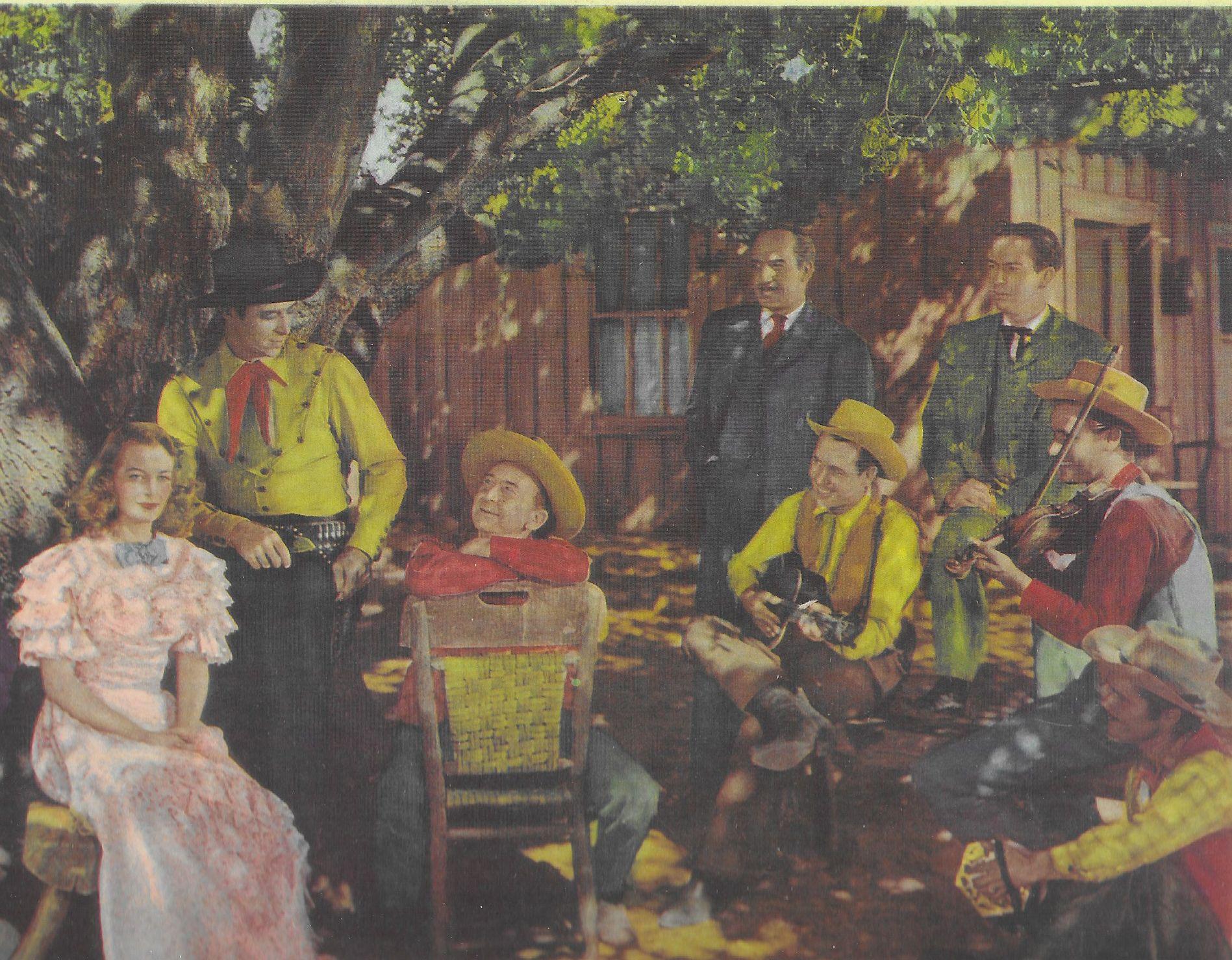 Ted Adams, Roscoe Ates, Freddie Daniel, Eddie Dean, Helen Mowery, J.D. Sumner, Eddie Wallace, and M.H. Richman in Range Beyond the Blue (1947)