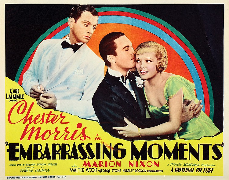 Walter Woolf King, Chester Morris, and Marian Nixon in Embarrassing Moments (1934)