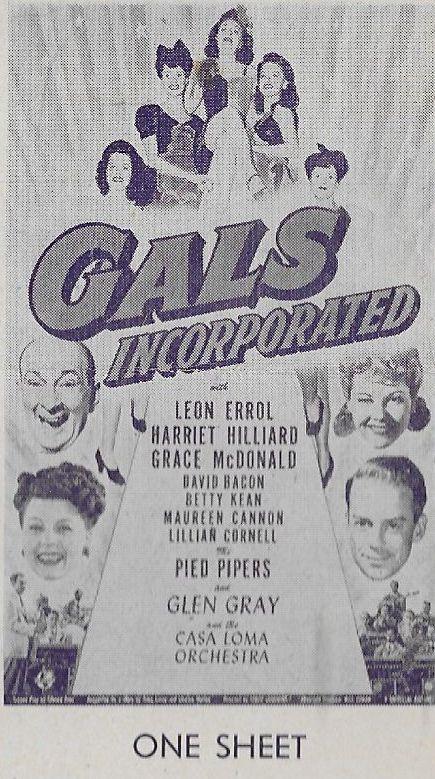 David Bacon, Maureen Cannon, Lillian Cornell, Leon Errol, Harriet Nelson, Betty Kean, and Grace McDonald in Gals, Incorporated (1943)