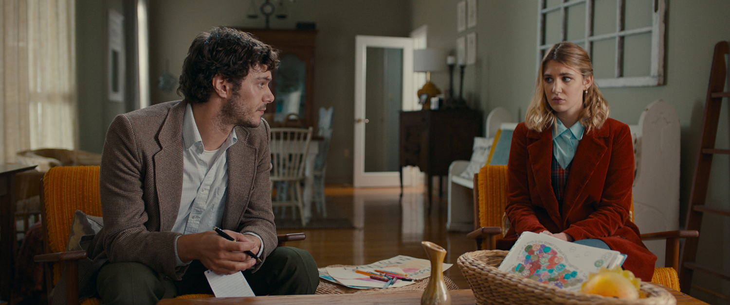 Adam Brody and Sophie Nélisse in The Kid Detective (2020)