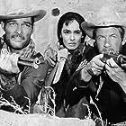 Susan Cabot, Joel McCrea, and John Russell in Fort Massacre (1958)