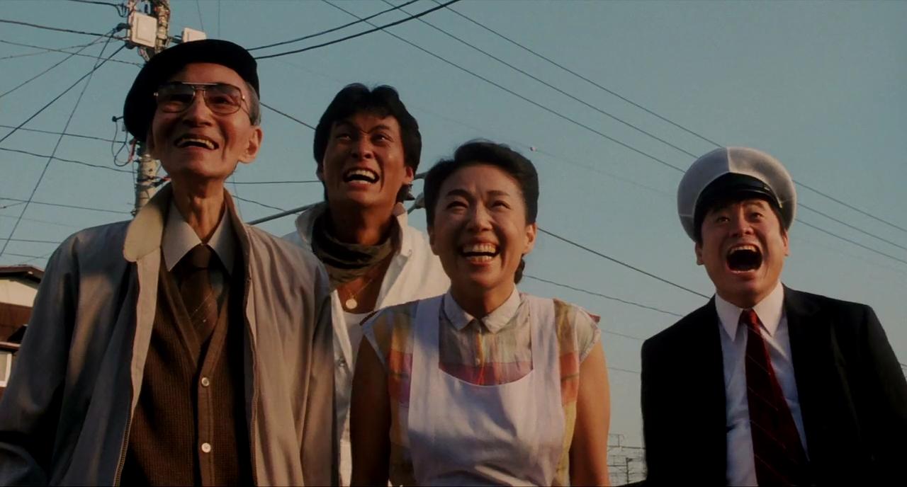 Yoshi Katô, Nobuko Miyamoto, Kinzô Sakura, and Ken Watanabe in Tampopo (1985)