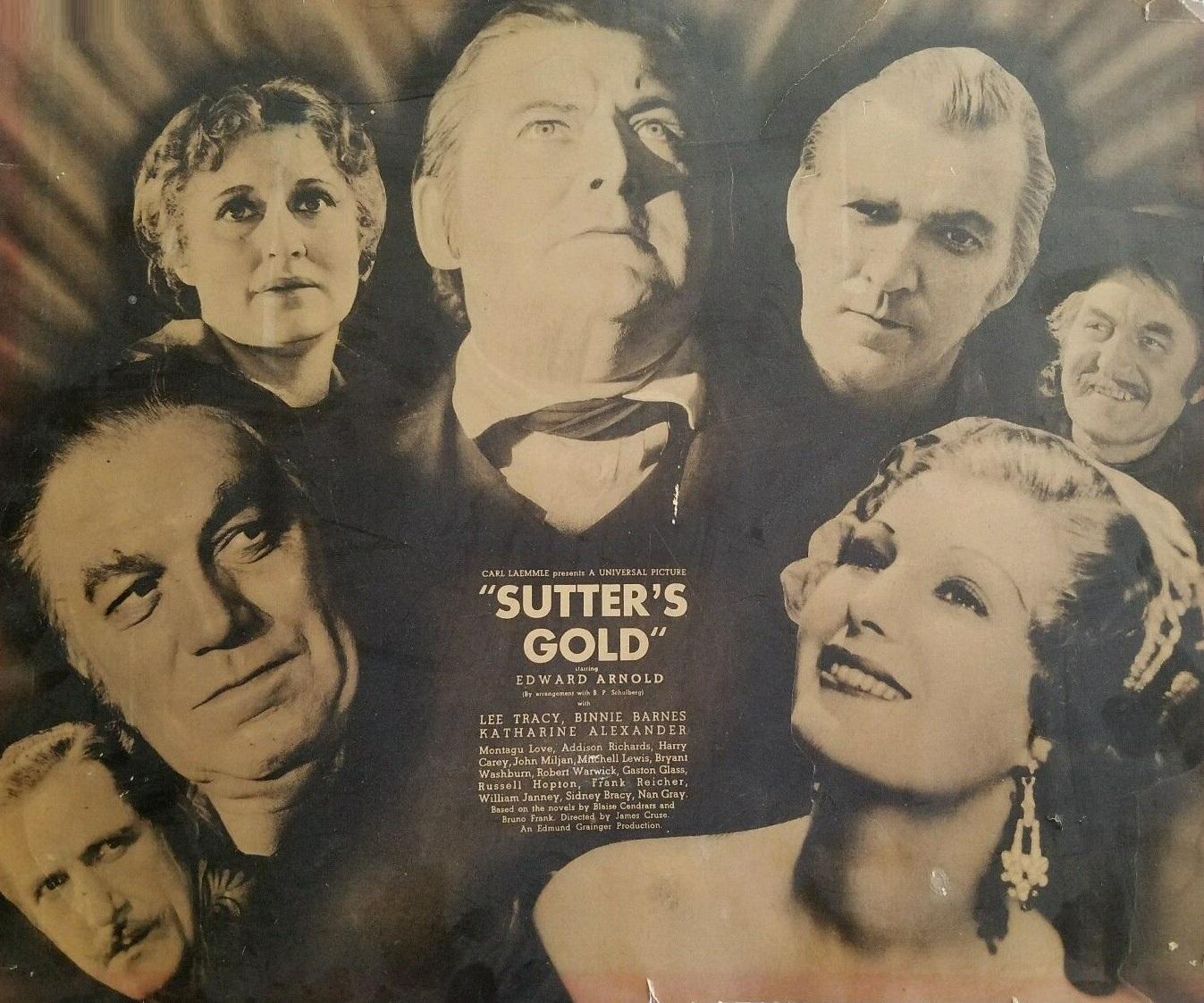 Binnie Barnes, Montagu Love, Harry Carey, Katharine Alexander, Edward Arnold, John Miljan, Addison Richards, and Lee Tracy in Sutter's Gold (1936)