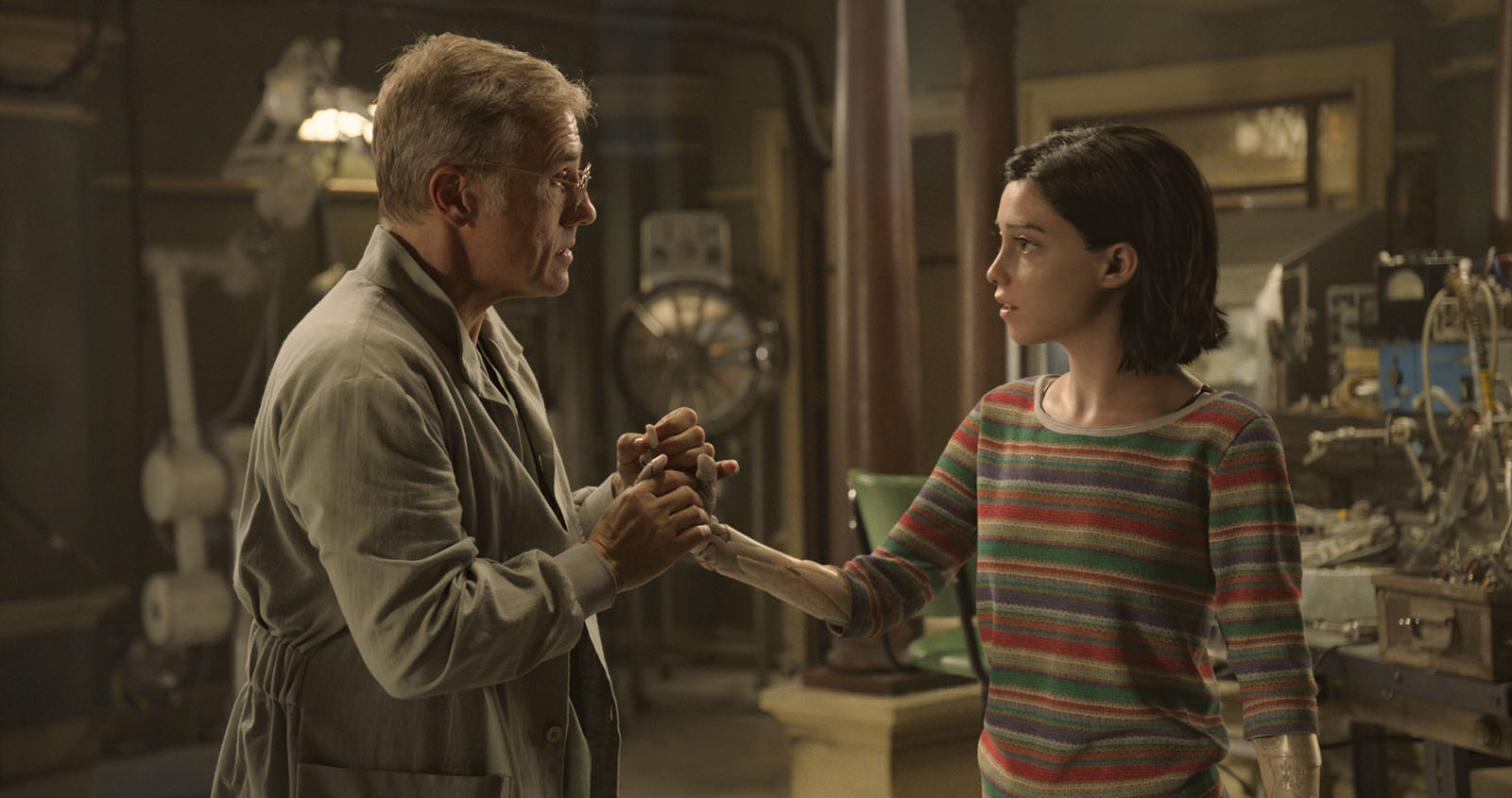 Christoph Waltz and Rosa Salazar in Alita: Battle Angel (2019)