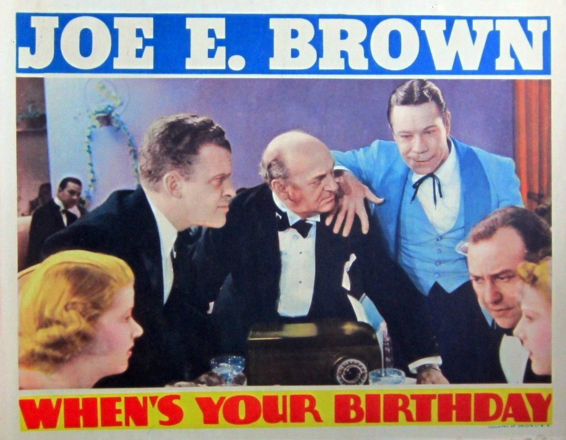 Granville Bates, Joe E. Brown, Frank Jenks, Suzanne Kaaren, Marian Marsh, and Minor Watson in When's Your Birthday? (1937)