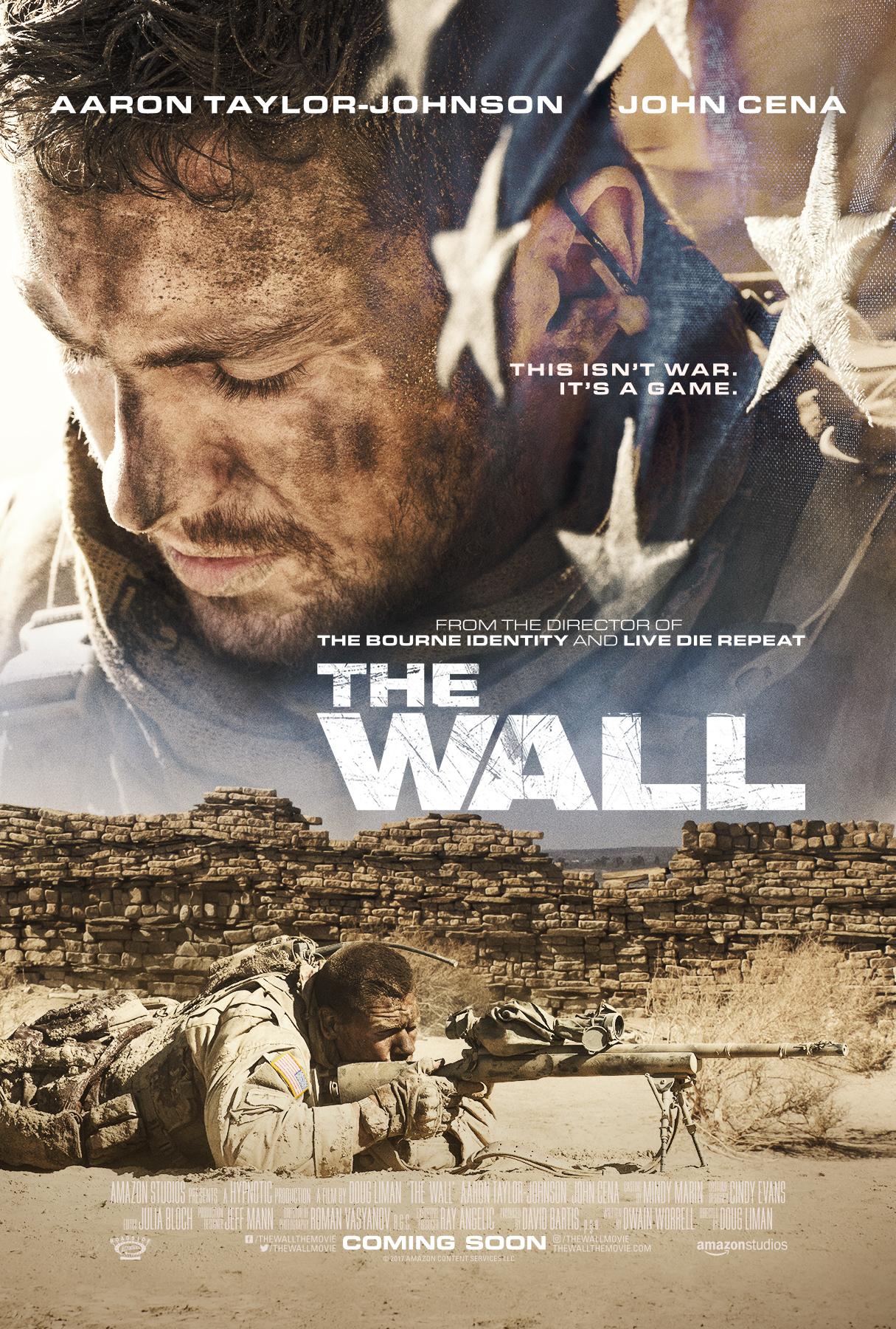 John Cena and Aaron Taylor-Johnson in The Wall (2017)