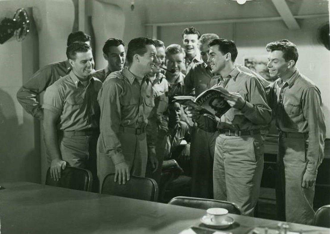 Richard Jaeckel, Murray Alper, Richard Crane, William Eythe, Kevin O'Shea, and Dave Willock in Wing and a Prayer (1944)