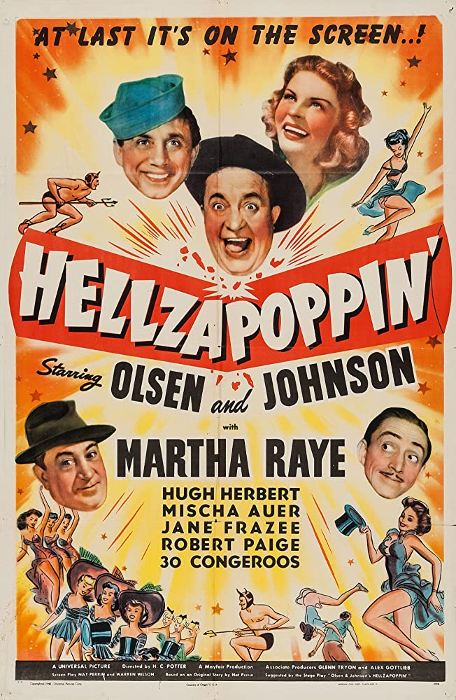 Hugh Herbert, Mischa Auer, Chic Johnson, Ole Olsen, and Martha Raye in Hellzapoppin' (1941)