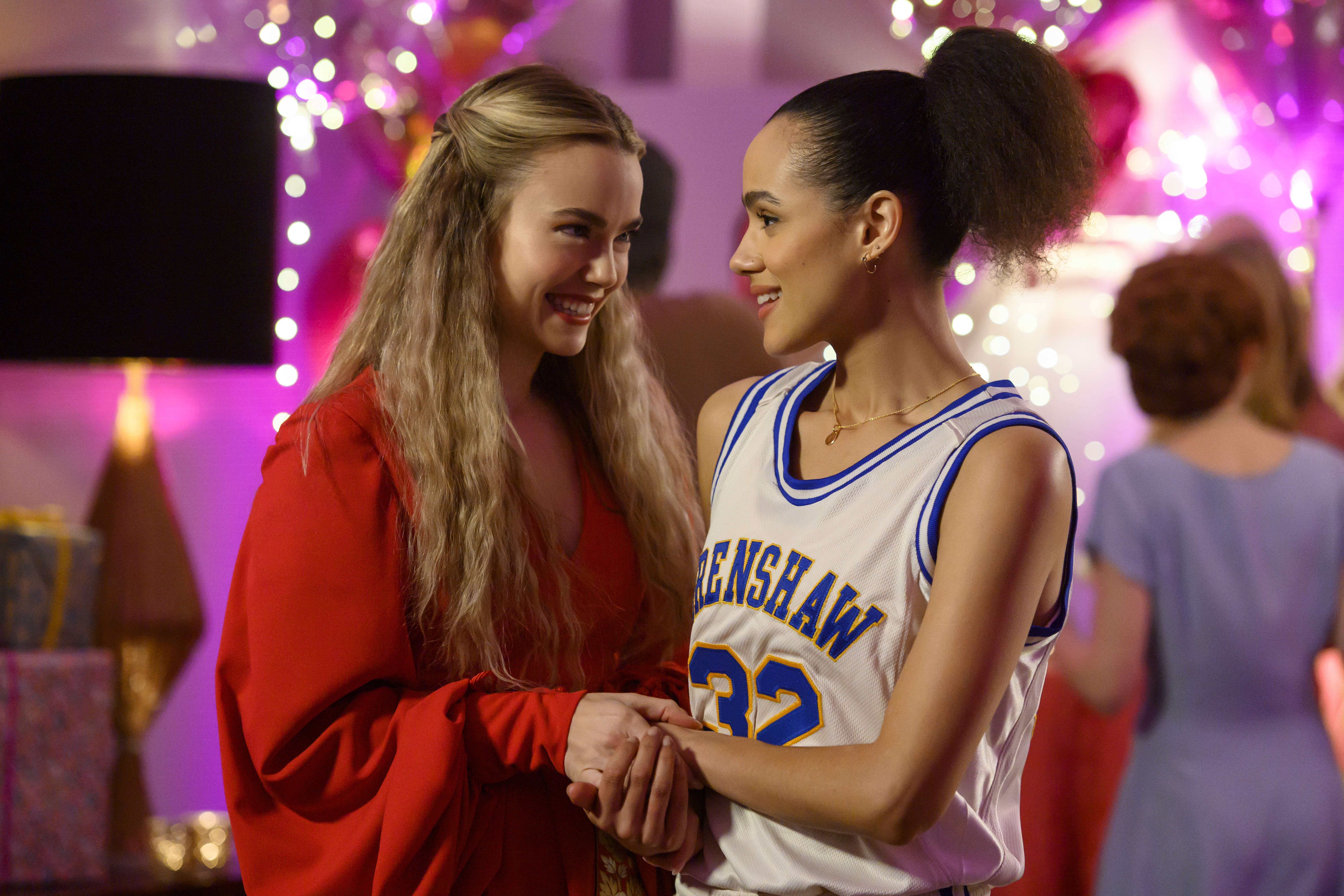 Nathalie Emmanuel and Rebecca Rittenhouse in Four Weddings and a Funeral (2019)