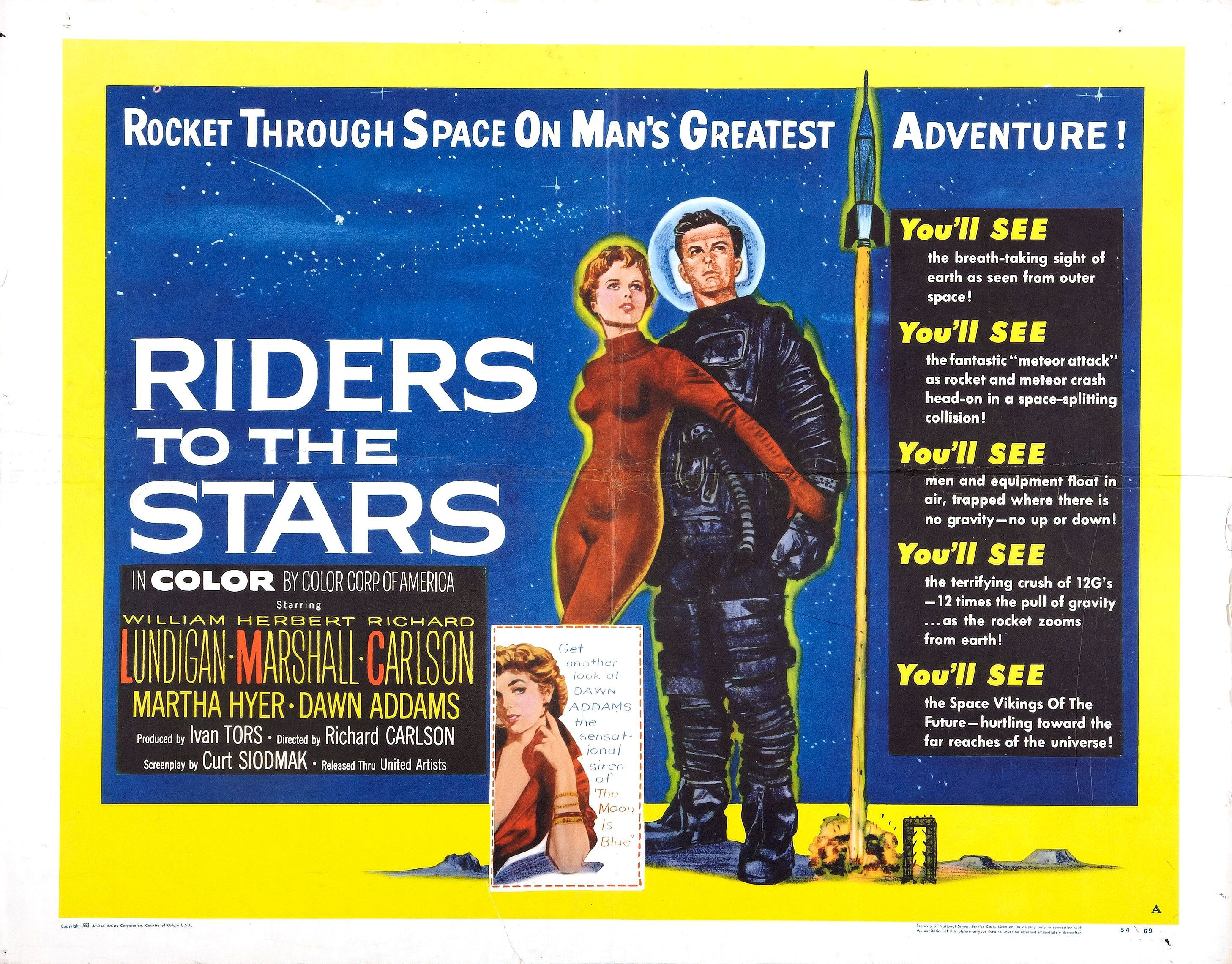 Dawn Addams, Martha Hyer, and William Lundigan in Riders to the Stars (1954)