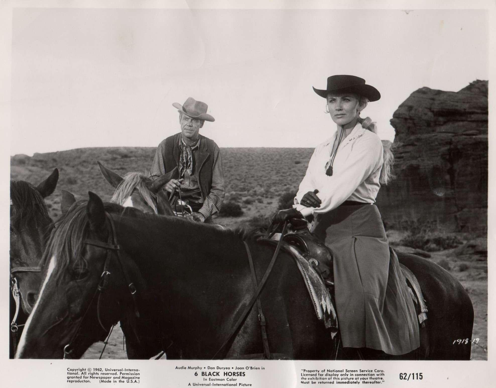 Dan Duryea and Joan O'Brien in Six Black Horses (1962)