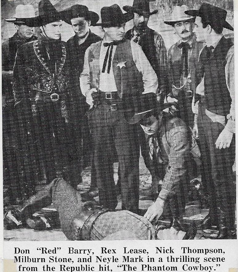 Chuck Baldra, Don 'Red' Barry, Bob Card, Rex Lease, and Milburn Stone in The Phantom Cowboy (1941)