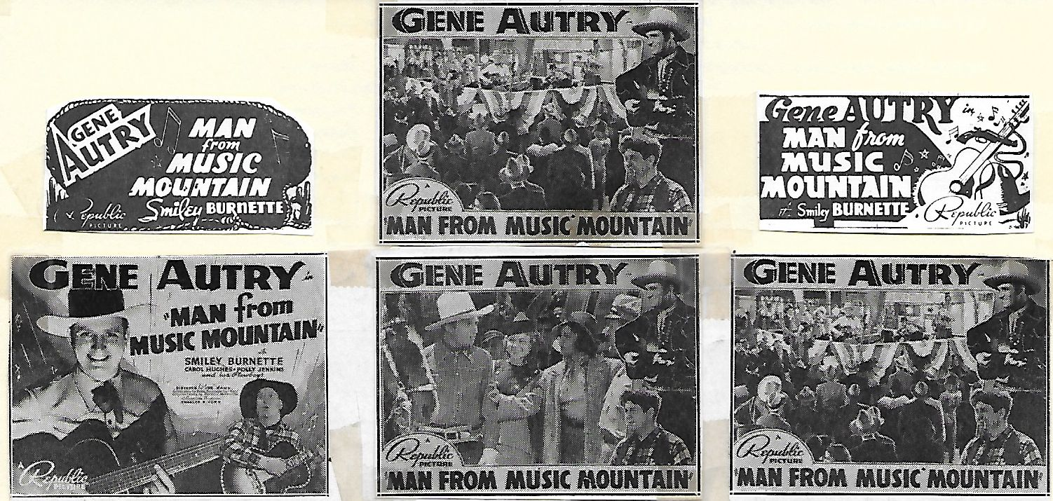 Gene Autry, Smiley Burnette, Lillian Drew, Carol Hughes, Sally Payne, Polly Jenkins, Champion, Polly Jenkins and Her Plowboys, and Al Terry in Man from Music Mountain (1938)