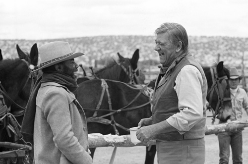 John Wayne and Roscoe Lee Browne in The Cowboys (1972)