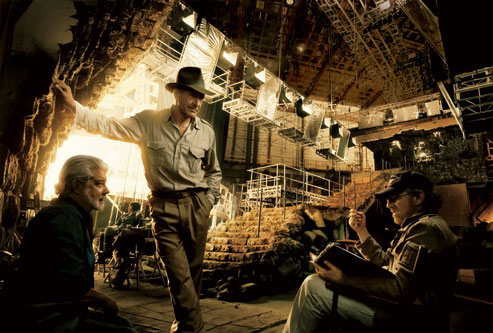 George Lucas, Harrison Ford y Steven Spielberg durante la filmación de 'Indiana Jones and the Kingdom of the Crystal Skull'-.